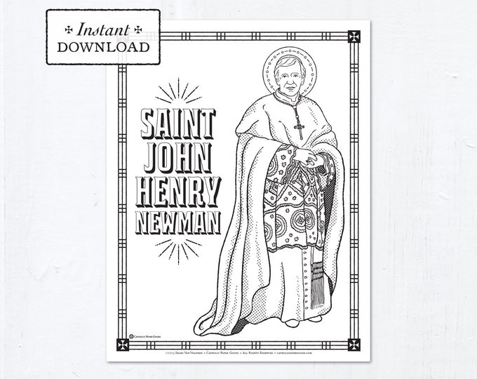 Catholic Coloring Page - Saint John Henry Newman - Catholic Saints - Printable Coloring Page - Digital - PDF