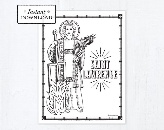 Catholic Coloring Page - Saint Lawrence - Catholic Saints - Printable Coloring Page - Digital - PDF