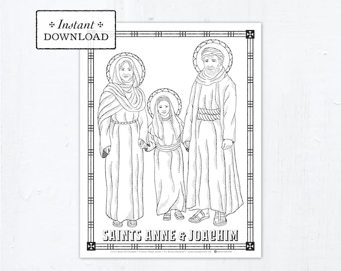 Catholic Coloring Page - Saints Anne and Joachim - Catholic Saints - Printable Coloring Page - Digital - PDF St Sharbel Makhlouf