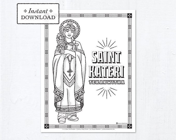 Catholic Coloring Page - Saint Kateri Tekakwitha - Catholic Saints - Printable Coloring Page - Digital - PDF