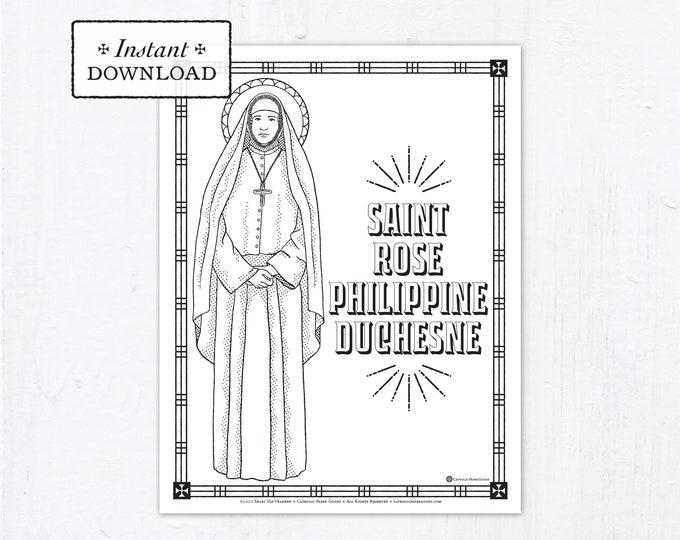 Catholic Coloring Page - Saint Rose Philippine Duchesne - Catholic Saints - Printable Coloring Page - Digital - PDF