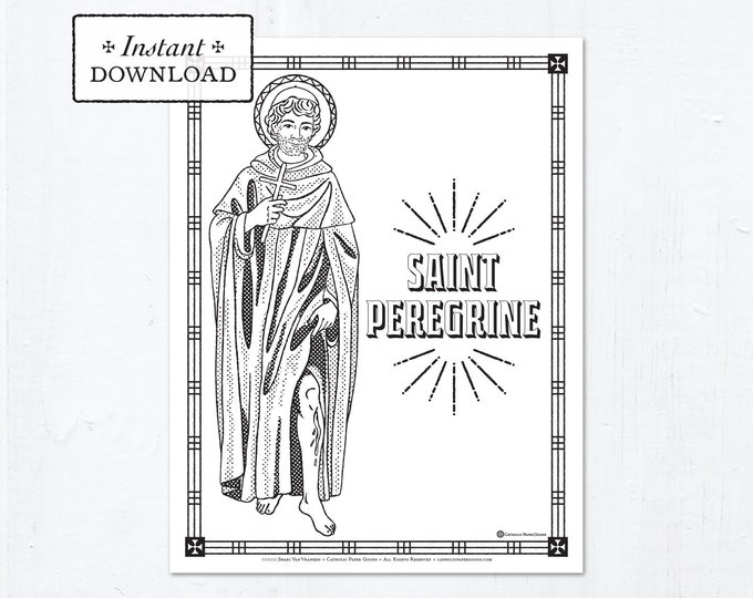 Catholic Coloring Page - Saint Peregrine - Catholic Saints - Printable Coloring Page - Digital - PDF