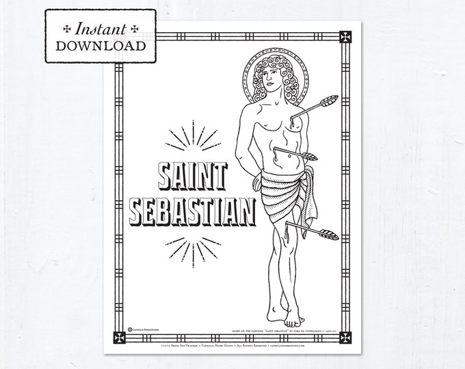 Catholic Coloring Page - Saint Sebastian - Catholic Saints - Printable Coloring Page - Digital - PDF