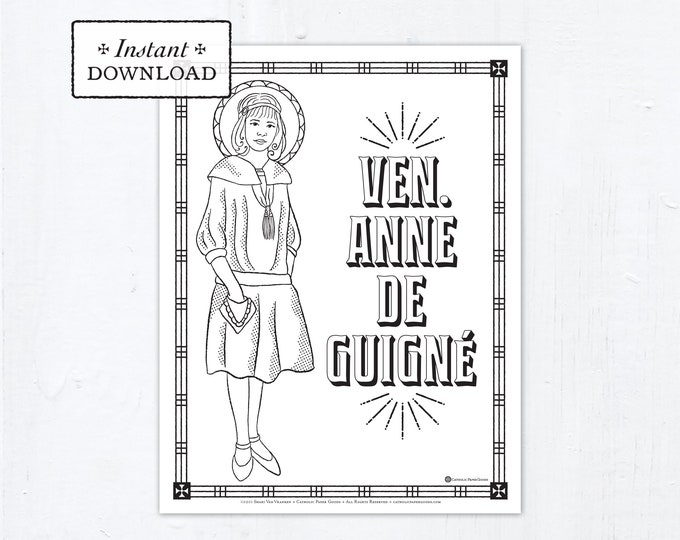 Catholic Coloring Page - Venerable Anne de Guigné - Catholic Saints - Venerable Anne de Guigne Printable Coloring Page - Digital - PDF