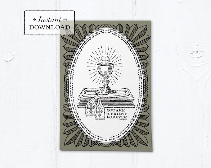 "Catholic Priestly Ordination Card Black and Tan Ciborium - Instant Download - DIY Downloadable PDF 5""x7"""