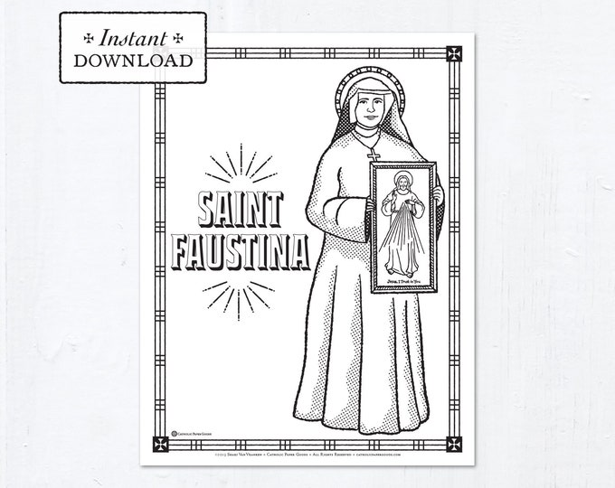 Catholic Coloring Page - Saint Faustina - Catholic Saints - Printable Coloring Page - Digital - PDF