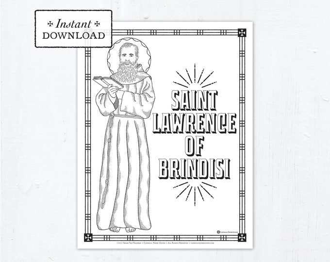 Catholic Coloring Page, Saint Lawrence of Brindisi Coloring Page, Catholic Saints, Printable Coloring Page, Digital Coloring Page, PDF