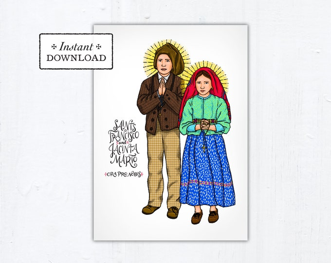 "Saints Francisco and Jacinta Marto Card - Art Print - Instant Download - DIY Downloadable PDF 5""x7"""