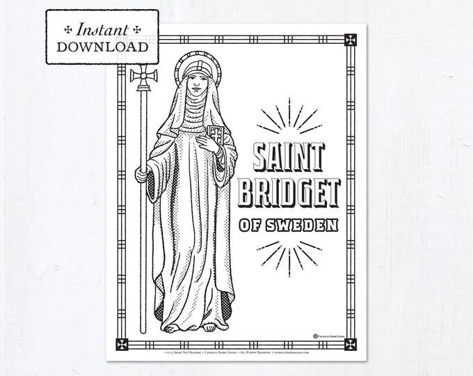 Catholic Coloring Page - Saint Bridget of Sweden - Catholic Saints - Printable Coloring Page - Digital - PDF