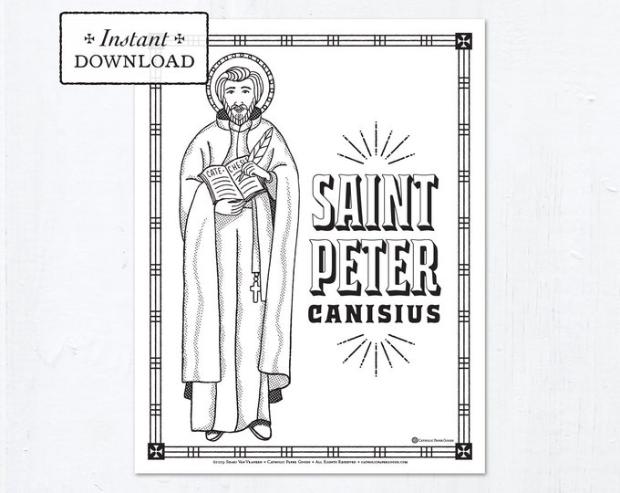 Catholic Coloring Page - Saint Peter Canisius - Catholic Saints - Printable Coloring Page - Digital - PDF