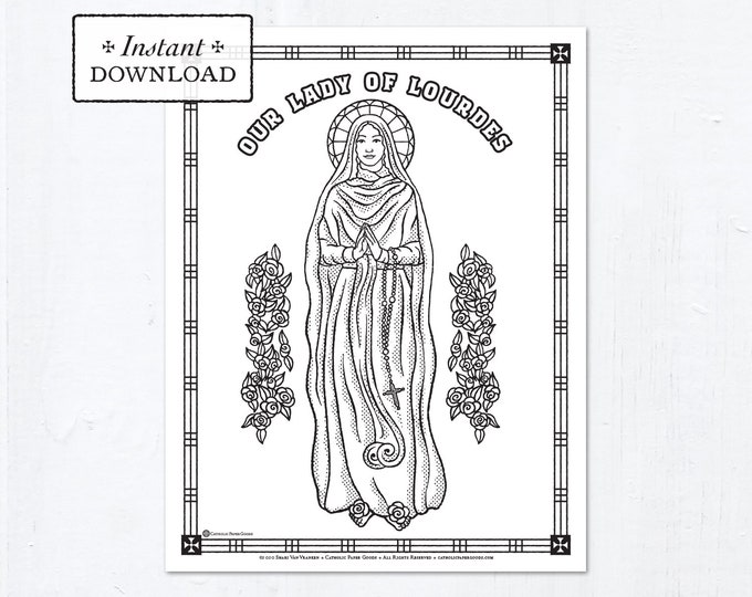 Catholic Coloring Page - Our Lady of Lourdes - Catholic Saints - Printable Coloring Page - Digital - PDF