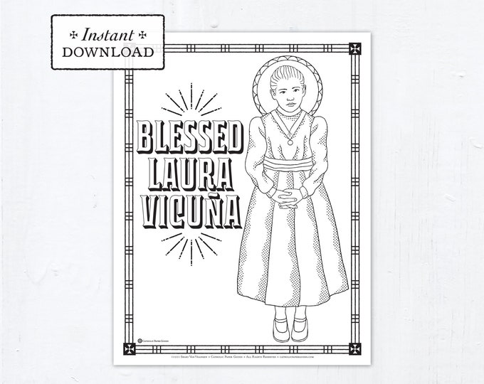 Catholic Coloring Page - Blessed Laura Vicuña - Catholic Saints - Printable Coloring Page - Digital - PDF - Blessed Laura Vicuna