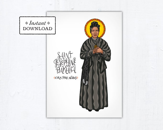 "St. Josephine Bakhita Card - Art Print - Instant Download - DIY Downloadable PDF 5""x7"""
