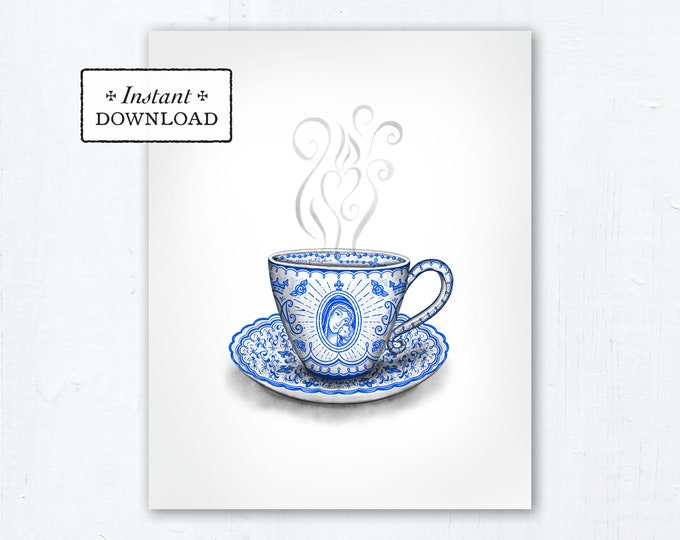 "Marian Teacup Art Print - Instant Download - Catholic Mother's Day Marian Art - DIY Downloadable PDF 8""x10"" Catholic Printable Art"