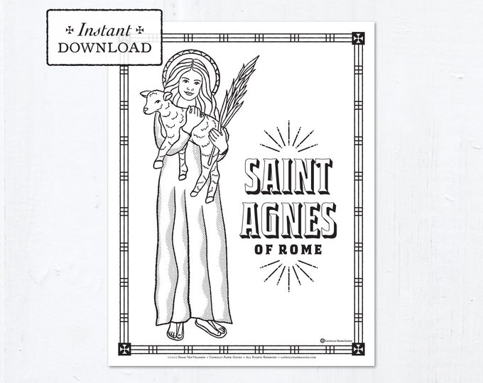 Catholic Coloring Page - Saint Agnes of Rome - Catholic Saints - Printable Coloring Page - Digital - PDF