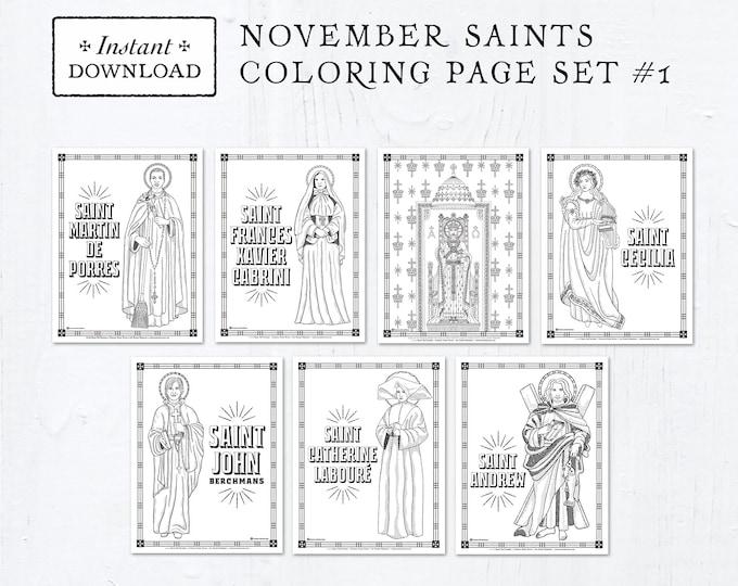 Catholic Coloring Pages - November Saints Set #1 - Bundle of 7 - Catholic Saints - Printable Coloring Pages - Digital - PDF Download