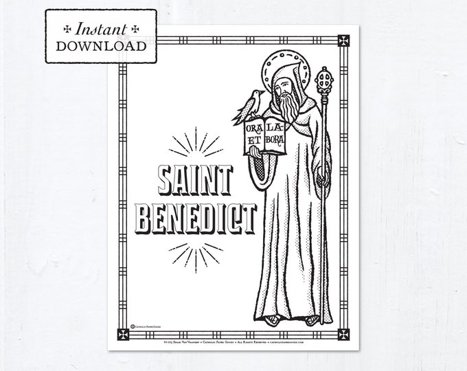 Catholic Coloring Page - Saint Benedict - Catholic Saints - Printable Coloring Page - Digital - PDF