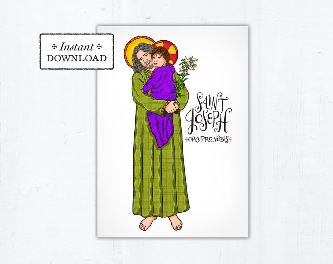 "St. Joseph Card - Art Print - Instant Download - DIY Downloadable PDF 5""x7"""