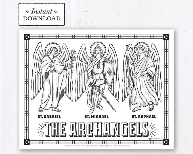 Catholic Coloring Page - Archangels: St. Michael, St. Gabriel, St. Raphael - Catholic Saints - Printable Coloring Page - Digital - PDF