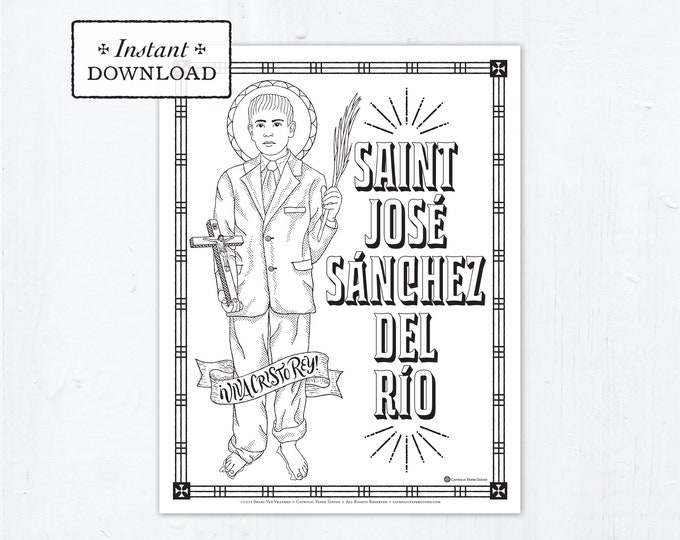 Catholic Coloring Page - Saint Jose Sanchez del Rio - Catholic Saints - Printable Coloring Page - Digital - PDF José Sánchez del Río