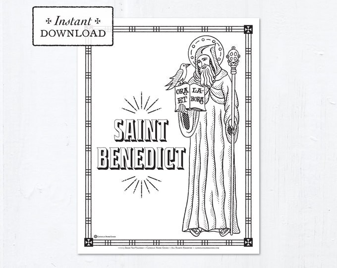 Catholic Coloring Page - Saint Benedict - Catholic Saints - Printable Coloring Page - Digital - PDF
