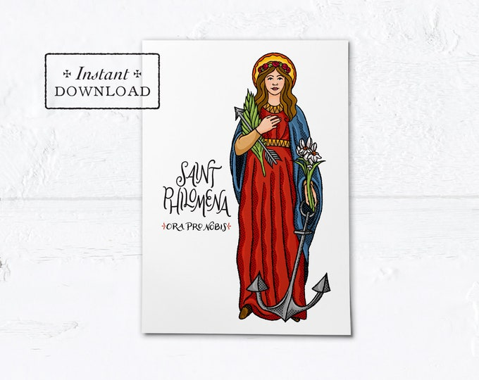 "St. Philomena Card - Art Print - Instant Download - DIY Downloadable PDF 5""x7"""