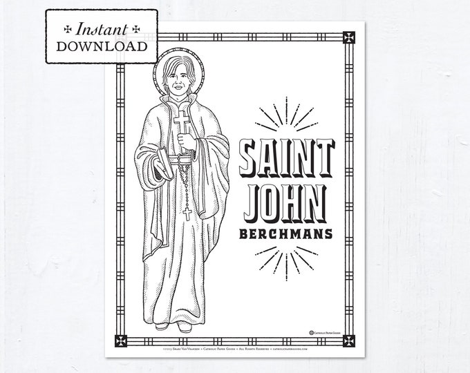 Catholic Coloring Page - Saint John Berchmans - Catholic Saints - Printable Coloring Page - Digital - PDF