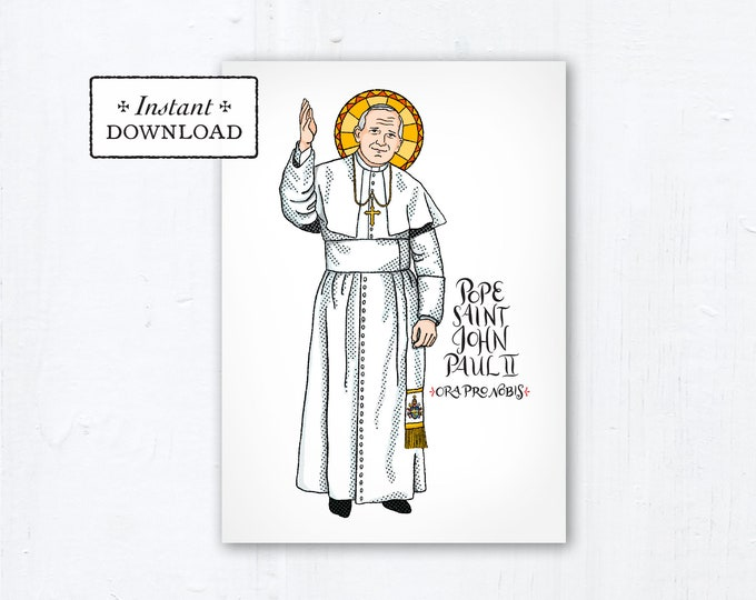"Pope Saint John Paul II Card - Art Print - Instant Download - DIY Downloadable PDF 5""x7"""