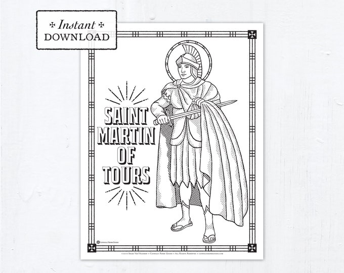 Catholic Coloring Page - Saint Martin of Tours - Catholic Saints - Printable Coloring Page - Digital - PDF
