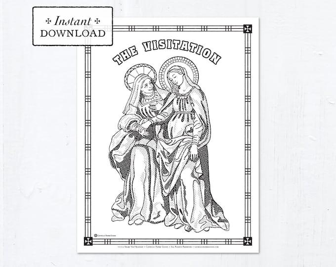 Catholic Coloring Page - The Visitation - Catholic Marian Art - Printable Coloring Page - Digital - PDF