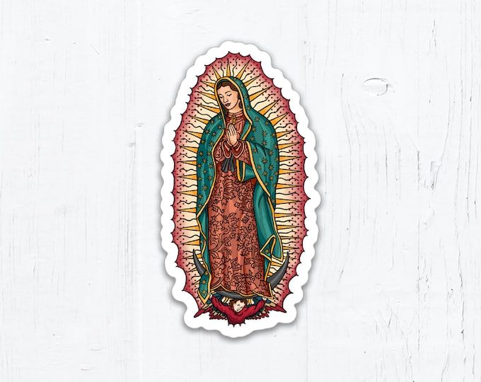"Our Lady of Guadalupe Die Cut Oval Vinyl Sticker 1.62"" x 3"" Peel & Stick"