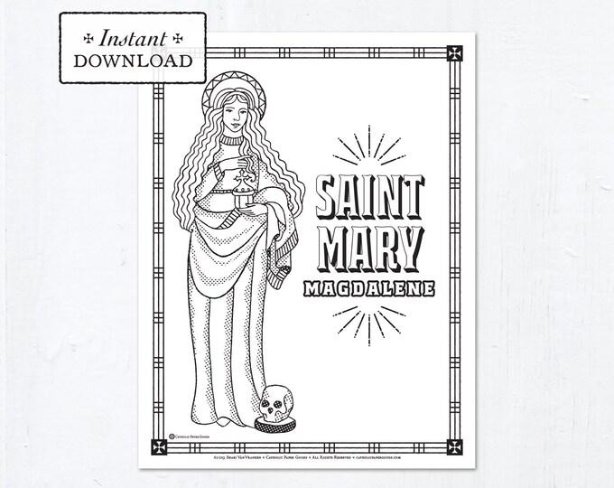 Catholic Coloring Page - Saint Mary Magdalene - Catholic Saints - Printable Coloring Page - Digital - PDF