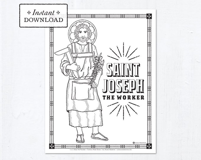 Catholic Coloring Page - Saint Joseph the Worker - Catholic Saints - Printable Coloring Page - Digital - PDF