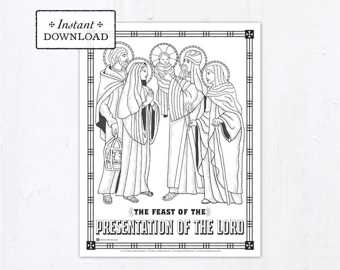 Catholic Coloring Page - The Feast of the Presentation of the Lord - Candlemas - Catholic Saints - Printable Coloring Page - Digital - PDF