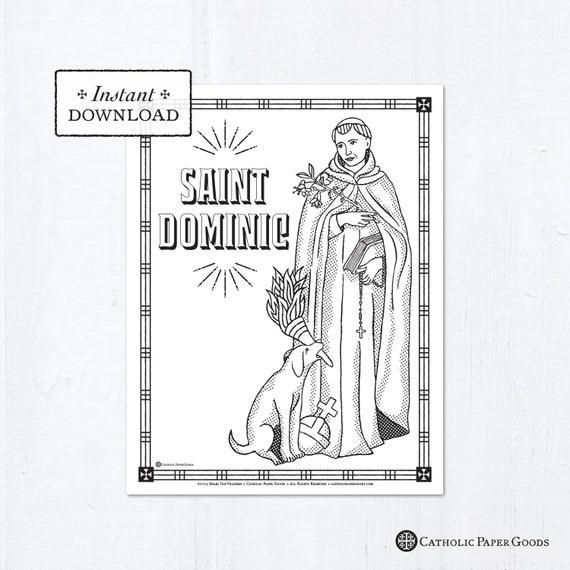 Catholic Coloring Page Saint Dominic Catholic Saints Etsy