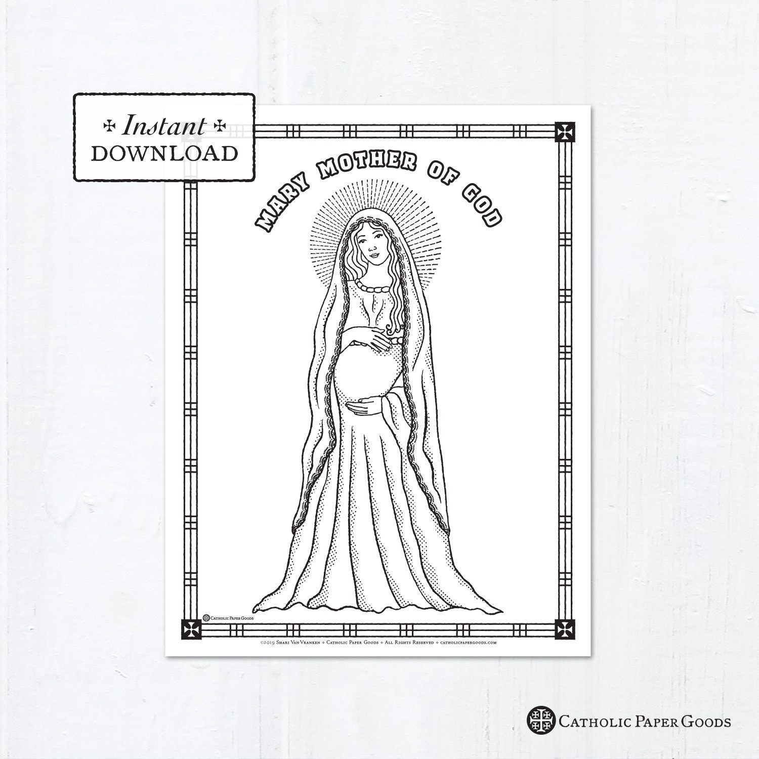 Catholic Coloring Page Solemnity Of Mary Mother Of God Catholic Saints Printable Coloring Page Digital Pdf