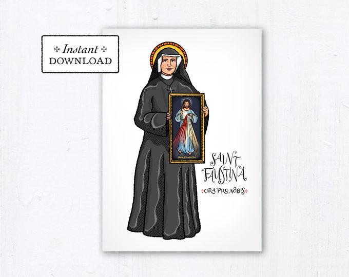 "St. Faustina Kowalska Card - Art Print - Instant Download - DIY Downloadable PDF 5""x7"""