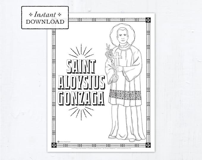 Catholic Coloring Page - Saint Aloysius Gonzaga - Catholic Saints - Printable Coloring Page - Digital - PDF