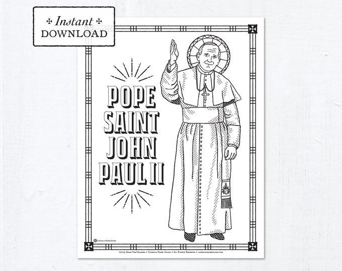 Catholic Coloring Page - Pope Saint John Paul II - Catholic Saints - Printable Coloring Page - Digital - PDF