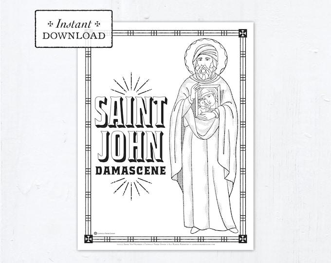 Catholic Coloring Page - Saint John Damascene - Catholic Saints - Printable Coloring Page - Digital - PDF