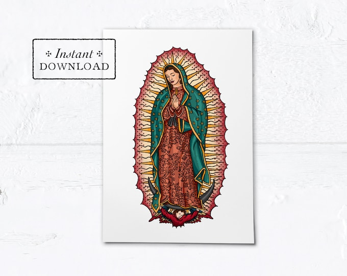 """Our Lady of Guadalupe Card - Greeting Card or Art Print - Instant Download - DIY Downloadable PDF 5""""x7"""""""
