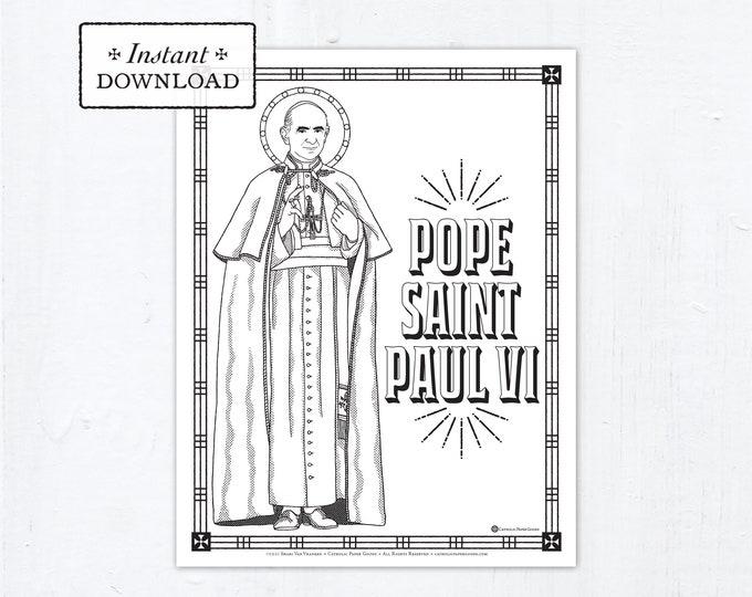 Catholic Coloring Page - Pope Saint Paul VI - Catholic Saints - Printable Coloring Page - Digital - PDF