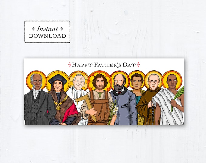 """Catholic Saints Father's Day Card - Instant Download - Downloadable PDF 9.25"""" x 3.875 - Catholic Printable Card Father's Day #10 - DIY Card"""
