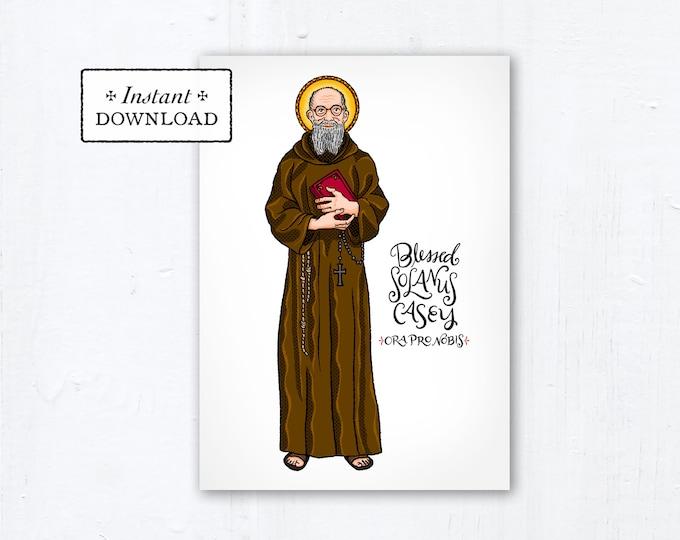 "Blessed Solanus Casey Card - Art Print - Instant Download - DIY Downloadable PDF 5""x7"" - Saint Printable Art Print Confirmation Gift Baptism"