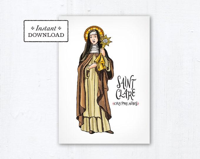 "Saint Clare of Assisi Card - Art Print - Instant Download - DIY Downloadable PDF 5""x7"""