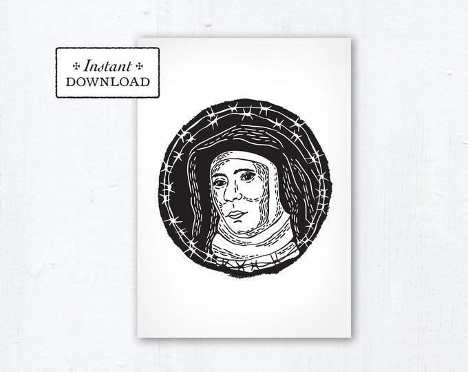 "Saint Teresa Benedicta of the Cross Edith Stein Card - Art Print - Instant Download DIY Downloadable PDF 5""x7""  Saint Printable Confirmation"