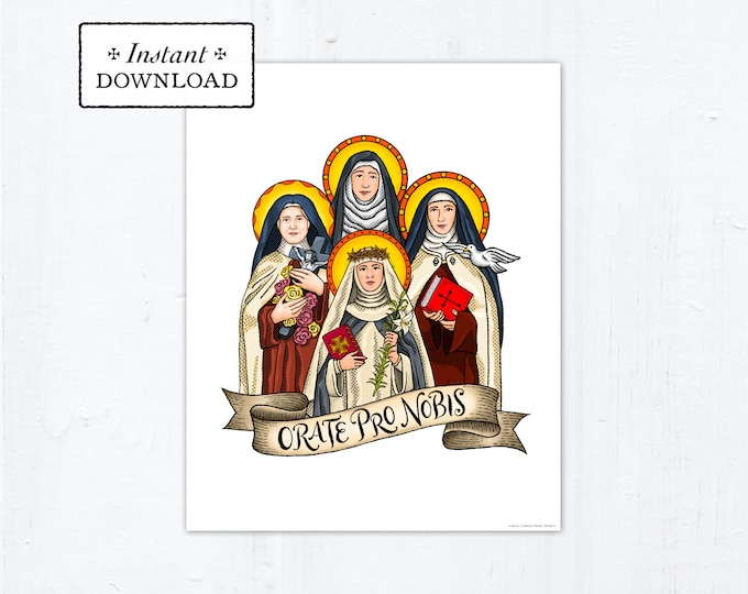 """Female Doctors of the Church Frameable Art Print Saint Poster, Instant Download, Downloadable PDF 8""""x10"""" Saint Squad Therese Catherine Siena"""
