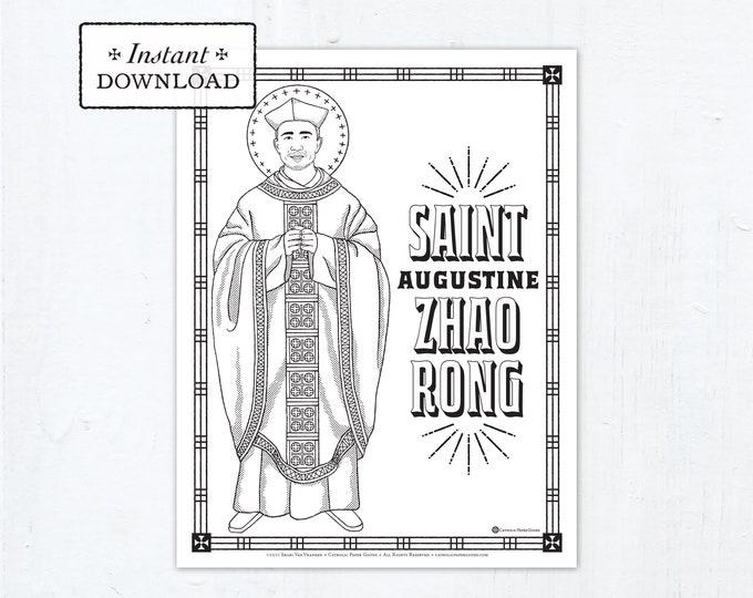Catholic Coloring Page - Saint Augustine Zhao Rong Coloring Page - Catholic Saints - Printable Coloring Page - Digital - PDF