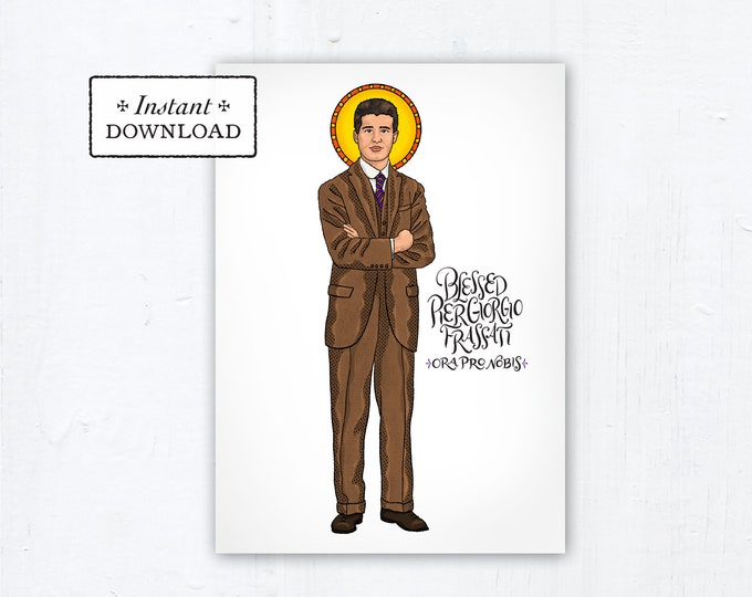 "Blessed Pier Giorgio Frassati Card - Art Print - Instant Download - DIY Downloadable PDF 5""x7"" Catholic Saint Printable Confirmation Gift"