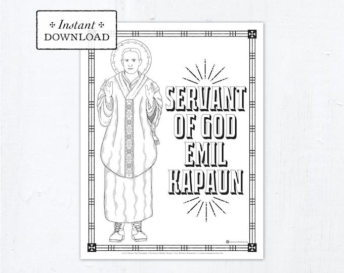 Catholic Coloring Page, Servant of God Emil Kapaun Coloring Page, Catholic Saints, Printable Coloring Page, Digital Coloring Page, PDF